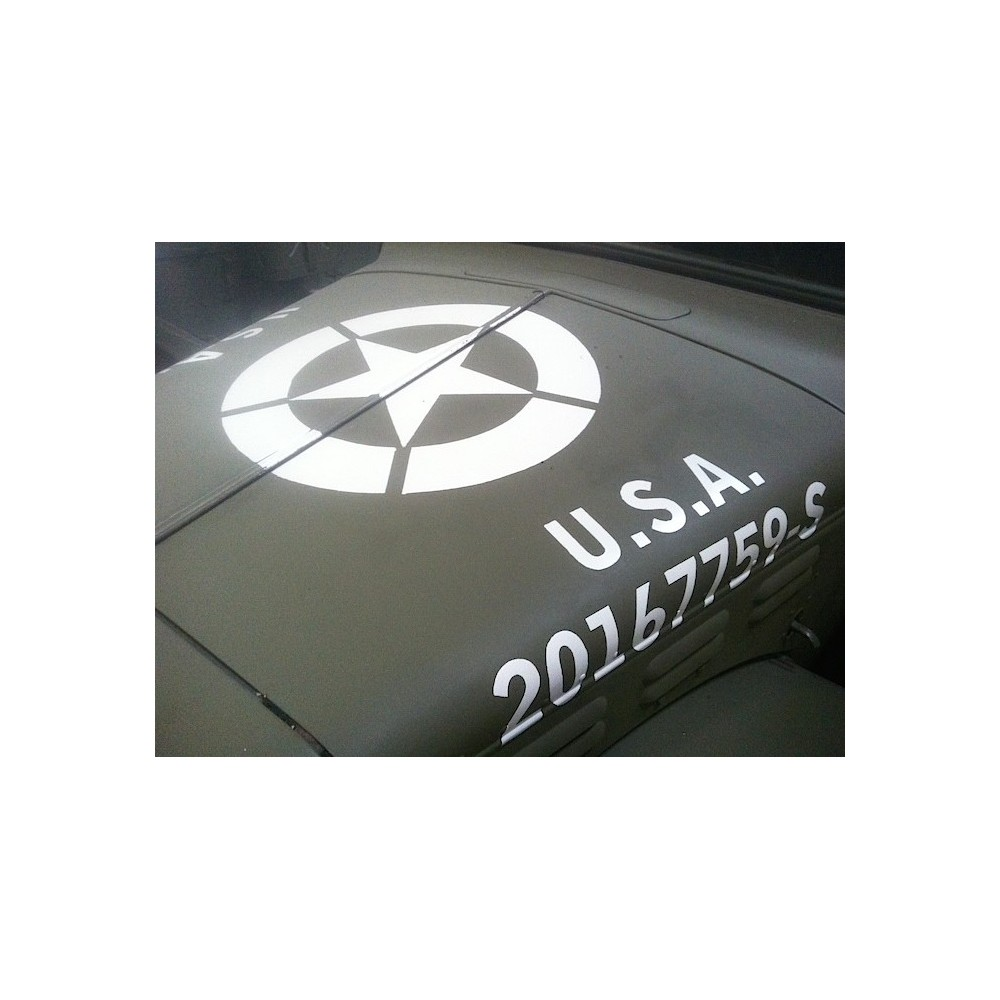 "marquage pochoir stencil etoile 3/"" parechoc us ww2 jeep"