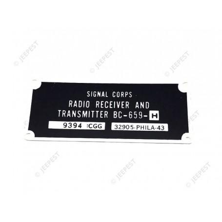 PLATE DATA RADIO BC659