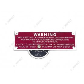 PLAQUE IDENTIFICATION RADIO WARNING ROUGE