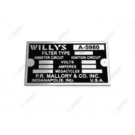 PLATE DATA RADIO FILTER WILLYS