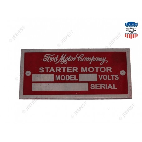PLAQUE IDENTIFICATION DEMARR FORD 6VOLTS