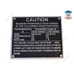 PLAQUE IDENTIFICATION CAUTION WILLYS/FORD ZINC