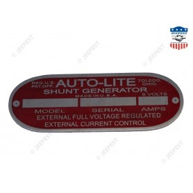 PLAQUE IDENTIFICATION DYNAMO AUTOLITE 6VOLTS