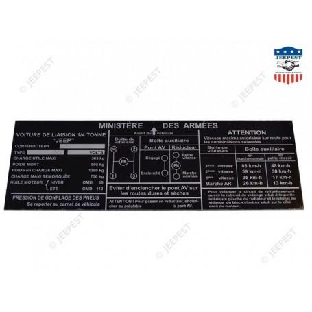 PLAQUE IDENTIFICATION HOTCHKISS M201