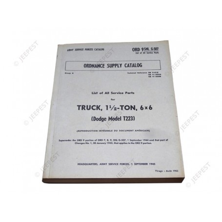 ORD9SNLG-507 - LIST SPARES PARTS DODGE 6X6 G-507 - JEEPEST