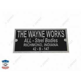 PLAQUE IDENTIFICATION THE WAYNE WORKS WC54