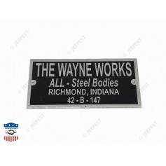 PLATE DATA THE WAYNE WORKS WC54