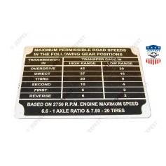 PLAQUE IDENTIFICATION MAX SPEED GMC