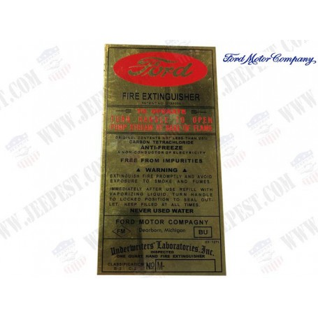 PLATE FIRE EXTINGUISHER FORD