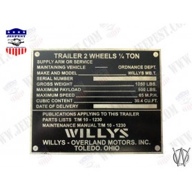 PLATE DATA WILLYS TRAILER