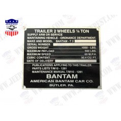 PLATE DATA BANTAM TRAILER