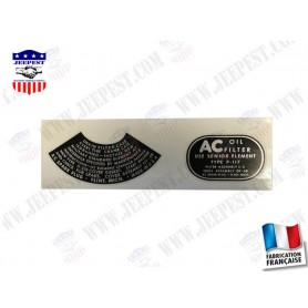 STICKER OIL FILTER AC GMC (SET OF 2)